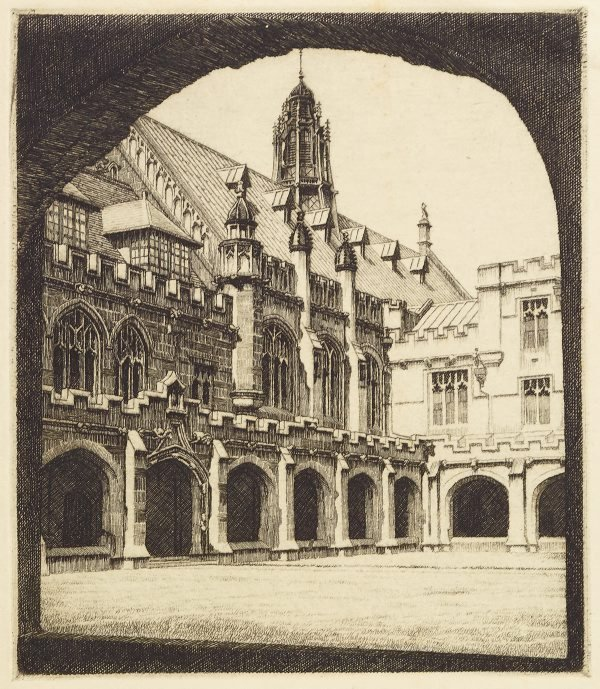 An image of (Two views of buildings at Sydney University: View of Quadrangle through arch and Manning House)