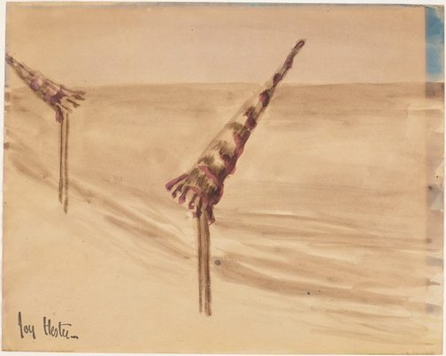 An image of Umbrellas on the beach by Joy Hester