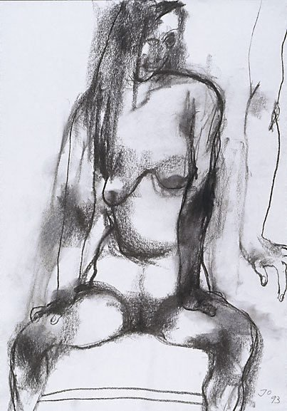 An image of Seated female nude, hands on thighs by John Olsen