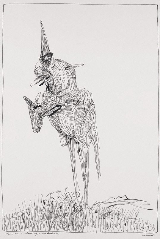 An image of Man on a donkey