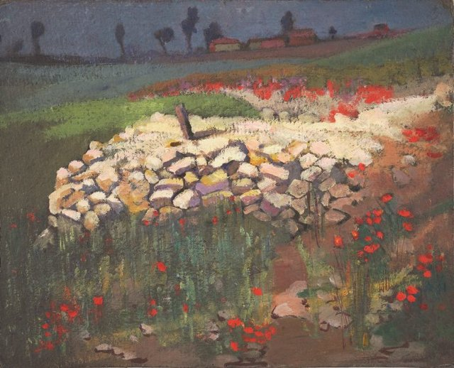 An image of (Trench ruins with poppies)