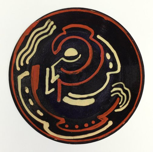 An image of Plate with cubist designs by Anne Dangar