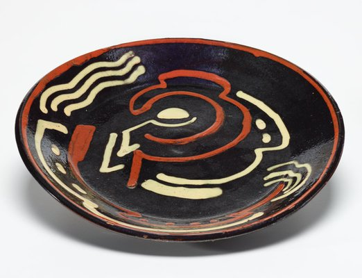 Alternate image of Plate with cubist designs by Anne Dangar