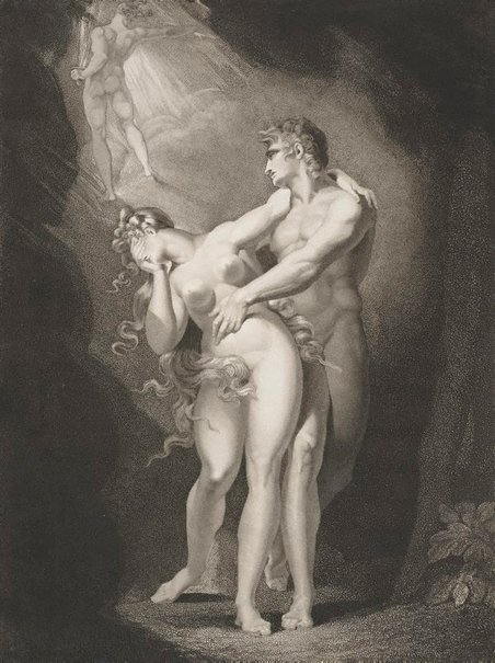 An image of The Dismission of Adam and Eve from Paradise by Moses Haughton, after Henry Fuseli