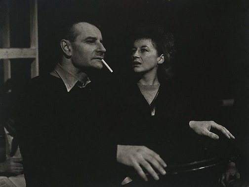 An image of Zoë Caldwell and Lindsay Anderson, during rehersals for 'Trials' by Logue, Royal Court Theatre, London by Lewis Morley