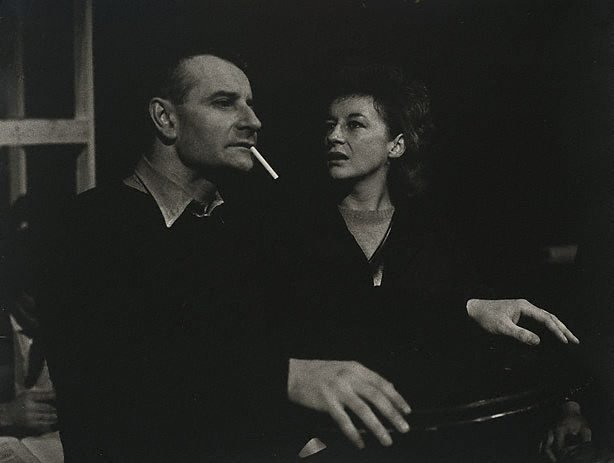 An image of Zoë Caldwell and Lindsay Anderson, during rehersals for 'Trials' by Logue, Royal Court Theatre, London