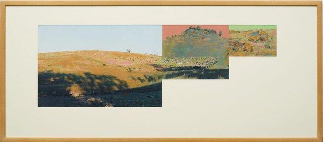 An image of Pseudo panorama. Cazneaux series: no 3 'Mustering sheep, Flinders Ranges SA'