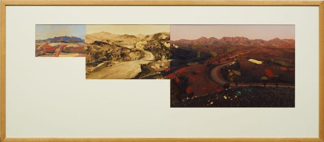 An image of Pseudo panorama. Cazneaux series: no 6 'The road through the Flinders SA'