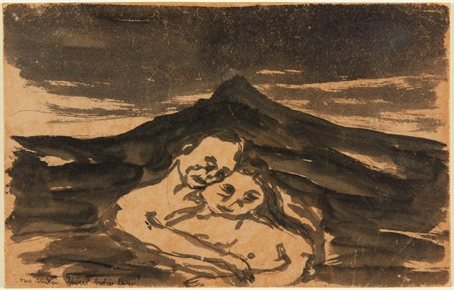 Two sunken lovers bodies lay, (circa 1955) by Joy Hester