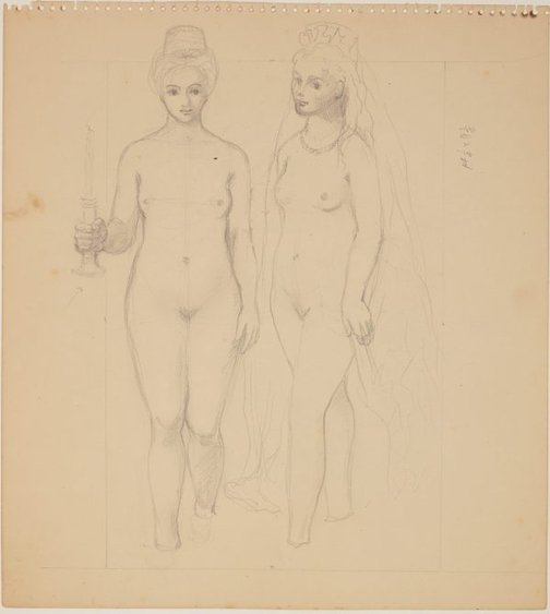 An image of Studies for 'The judgement of Paris' (Study for two female figures) by James Gleeson