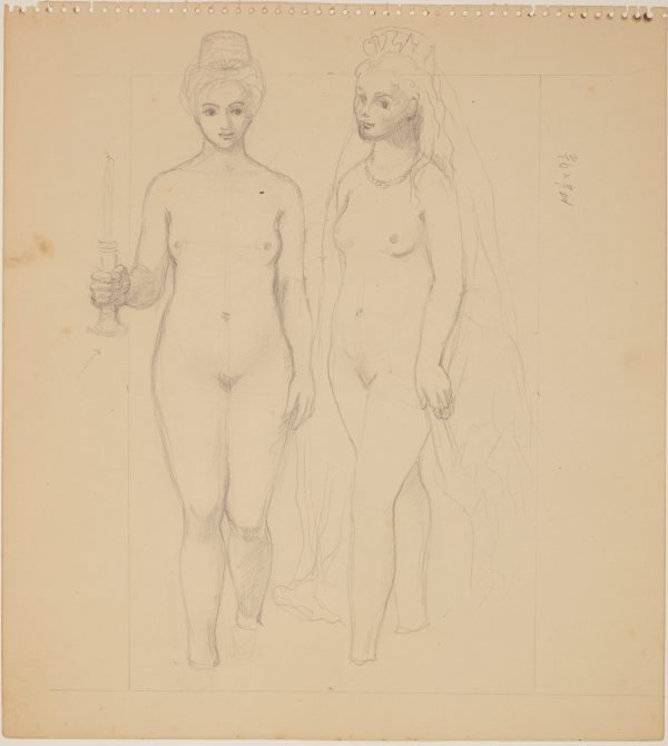 An image of Studies for 'The judgement of Paris' (Study for two female figures)