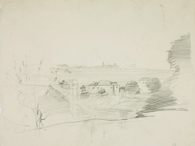 An image of recto: Study, a view of the harbour verso: Hillside sketch