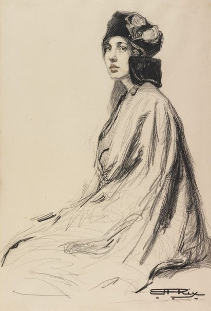 An image of Portrait by Hilda Rix Nicholas