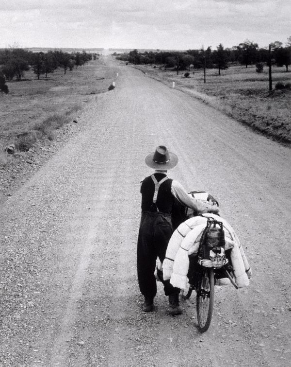An image of Swagman on the road to Wilcannia, New South Wales
