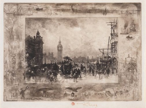 An image of Westminster Bridge by Félix Buhot