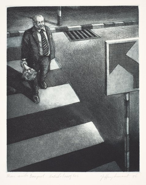 An image of Man with bouquet (second version) by Jeffrey Smart