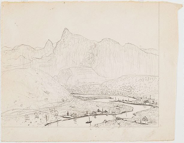 An image of Drawing for the etching 'The Tweed Valley, New South Wales'