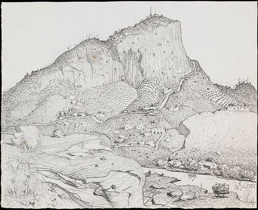 An image of Drawing for the etching 'A Tasmanian mountain' by Lloyd Rees