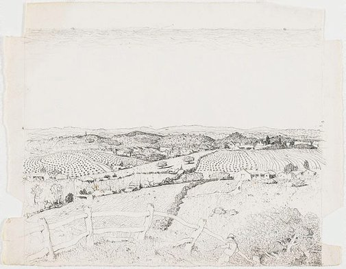An image of Drawing for the etching 'North western Tasmania' by Lloyd Rees