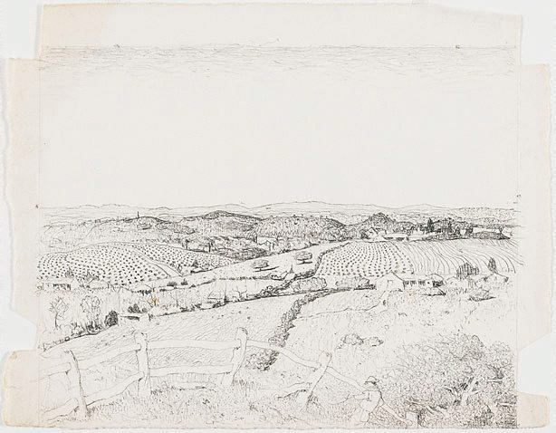 An image of Drawing for the etching 'North western Tasmania'