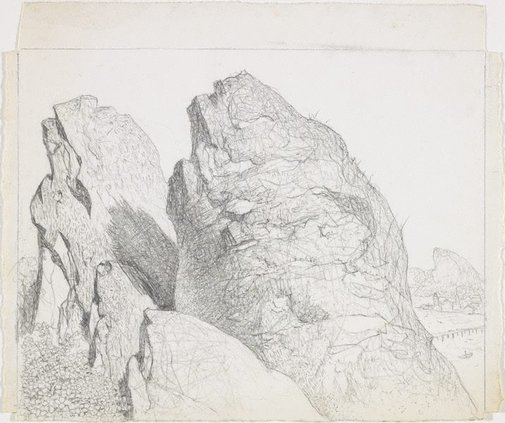 An image of Drawing for the etching 'The summit, Mount Wellington' by Lloyd Rees
