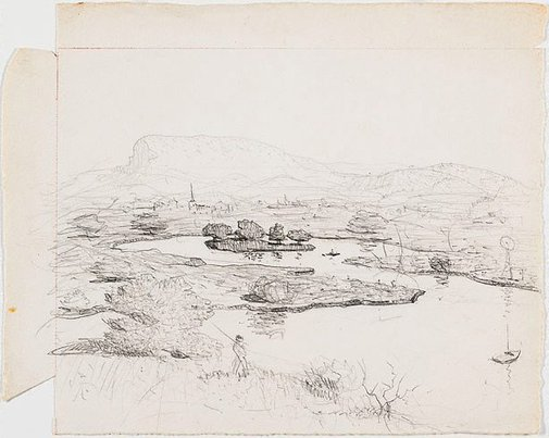 An image of Drawing for the etching 'Illawarra landscape' by Lloyd Rees
