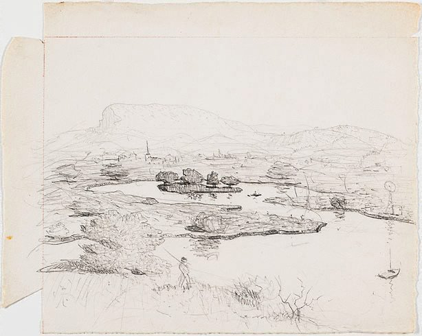An image of Drawing for the etching 'Illawarra landscape'