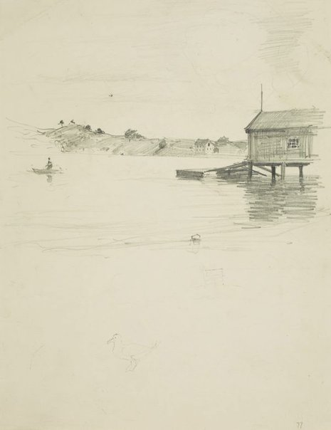 An image of Fisherman out from the boatshed by Lloyd Rees