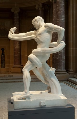 AGNSW collection Lord Frederic Leighton An athlete wrestling with a python (1888-1891) 183.2017