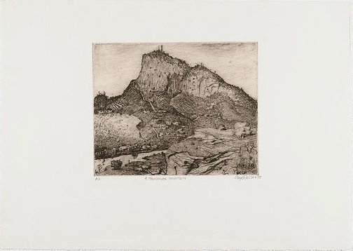 An image of A Tasmanian mountain by Lloyd Rees