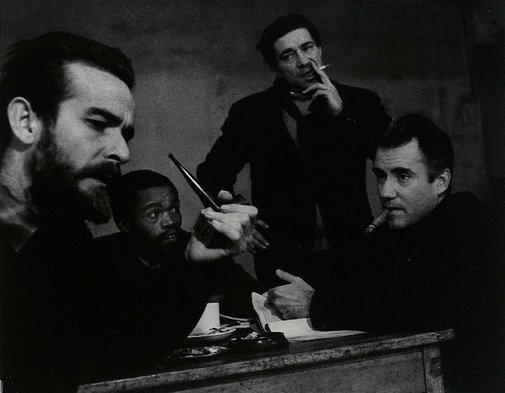 An image of Athol Fugard (author), Zaiks Mokae, John Berry (director) and Ian Bannen in rehearsals for 'The blood knot', New Arts Theatre, London by Lewis Morley