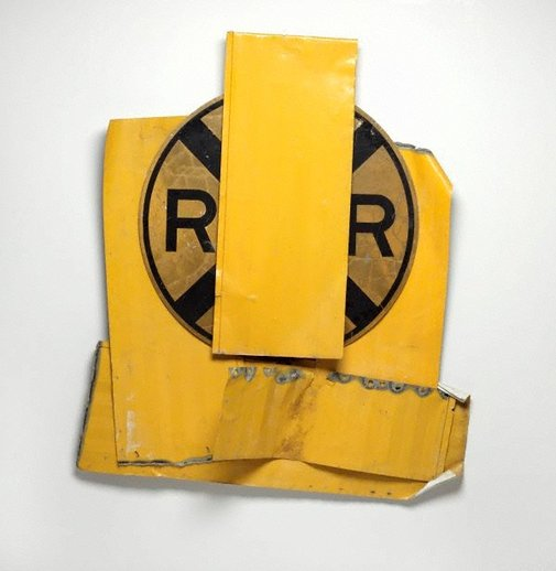 An image of Yellow visor glut by Robert Rauschenberg