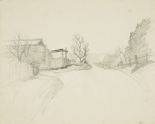 An image of Landscape with road and building by Lloyd Rees