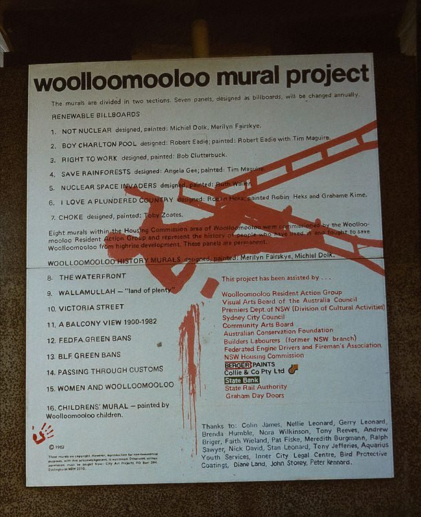 An image of Woolloomooloo mural project. Documentation of community art project