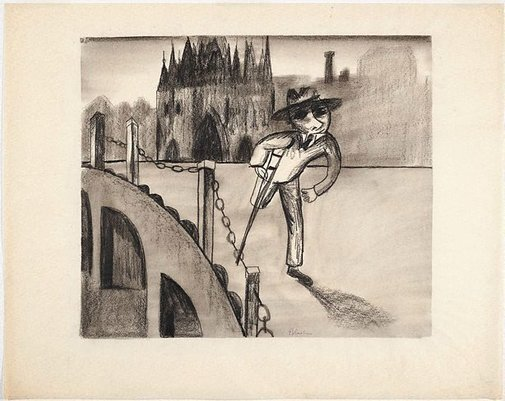 An image of (Man with crutch) by Charles Blackman