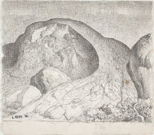 An image of Drawing for the etching 'The great rock' by Lloyd Rees