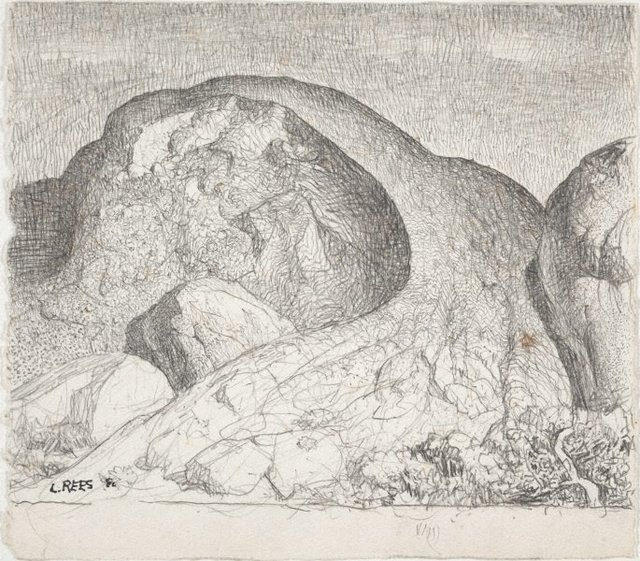 An image of Drawing for the etching 'The great rock'