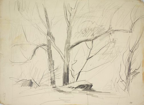 An image of recto: A bush sketch verso: A guesthouse by Lloyd Rees
