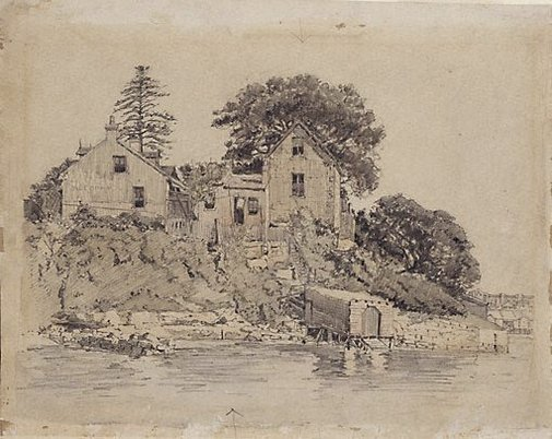 An image of Old houses, Blue's Point by Sydney Ure Smith