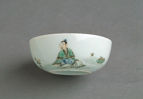 An image of Cup decorated with figure of Tao Yuanming by