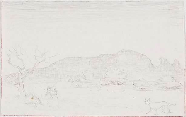 An image of recto: Drawing for the etching 'Macdonnell Ranges, Central Australia I' verso: [wax impression]