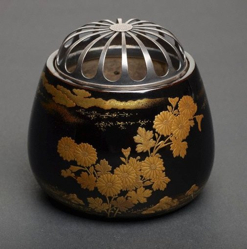 An image of Incense burner with chrysanthemum design by