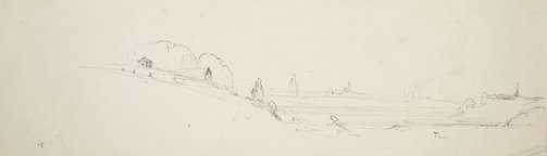 An image of Study of landscape with houses by Lloyd Rees