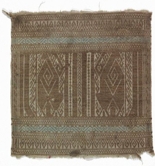 An image of Ceremonial textile (tampan) with abstract motifs by