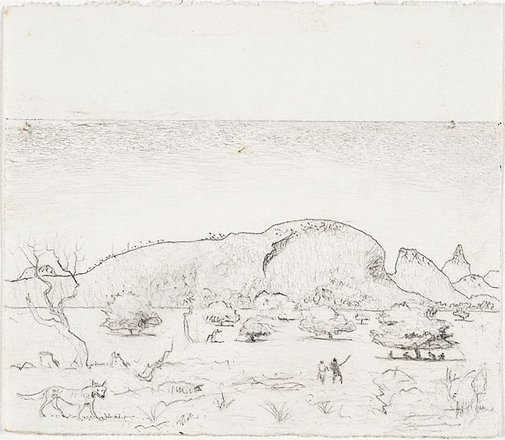 An image of recto: Study for the etching 'Macdonnell Ranges, Central Australia II' verso: [wax impression] by Lloyd Rees