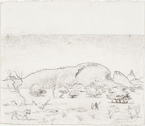 An image of recto: Study for the etching 'Macdonnell Ranges, Central Australia II' verso: [wax impression]