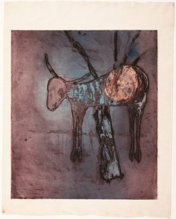 Untitled (Ram in tree), (1958) by Sidney Nolan