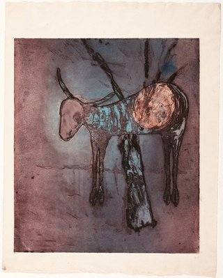 AGNSW collection Sidney Nolan Untitled (Ram in tree) (1958) 188.2013