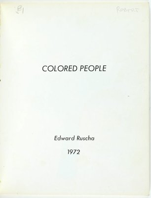 Alternate image of Colored people by Edward Ruscha