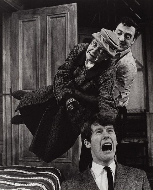 An image of Michael Crawford, Hazel Corpen and Henry H Corbett in 'Travelling light' by Leonard Kingston, Prince of Wales Theatre, London by Lewis Morley